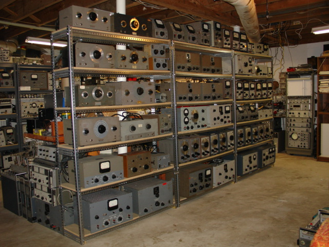 this is a picture of vintage hp oscillators  meters